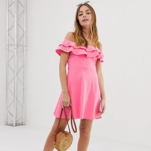 Asos   NWT Off the Shoulder Ruffle Dress Pink 4